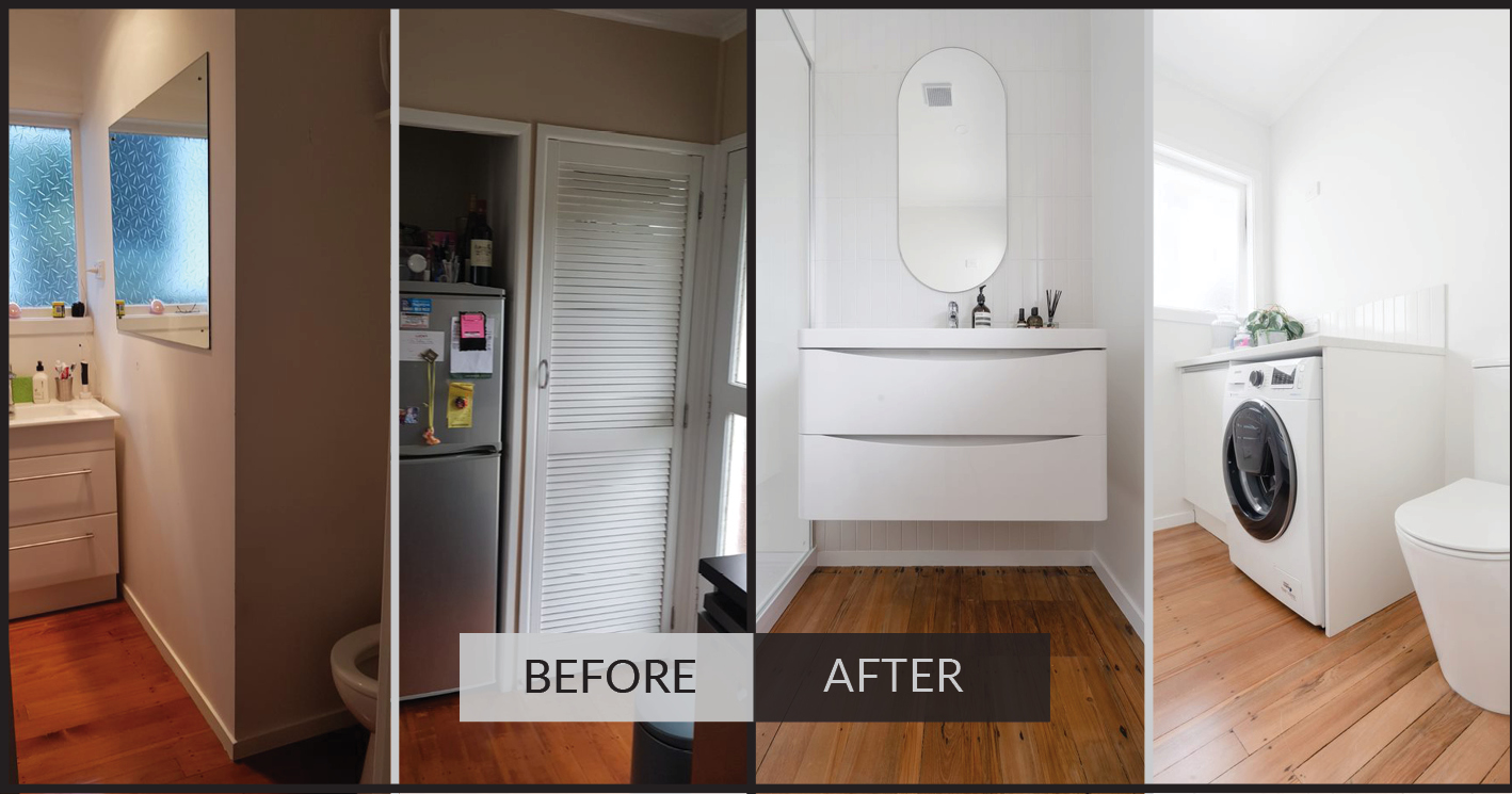 before and after - bathroom renovation in Cockle bay, east Auckland
