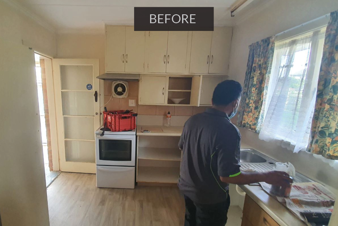 Kitchen before renovation - full interior house renovation in Papakura, south Auckland