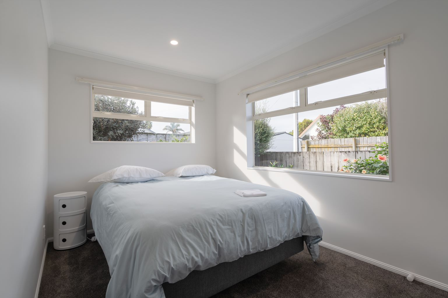 bedroom with new carpet - beach house