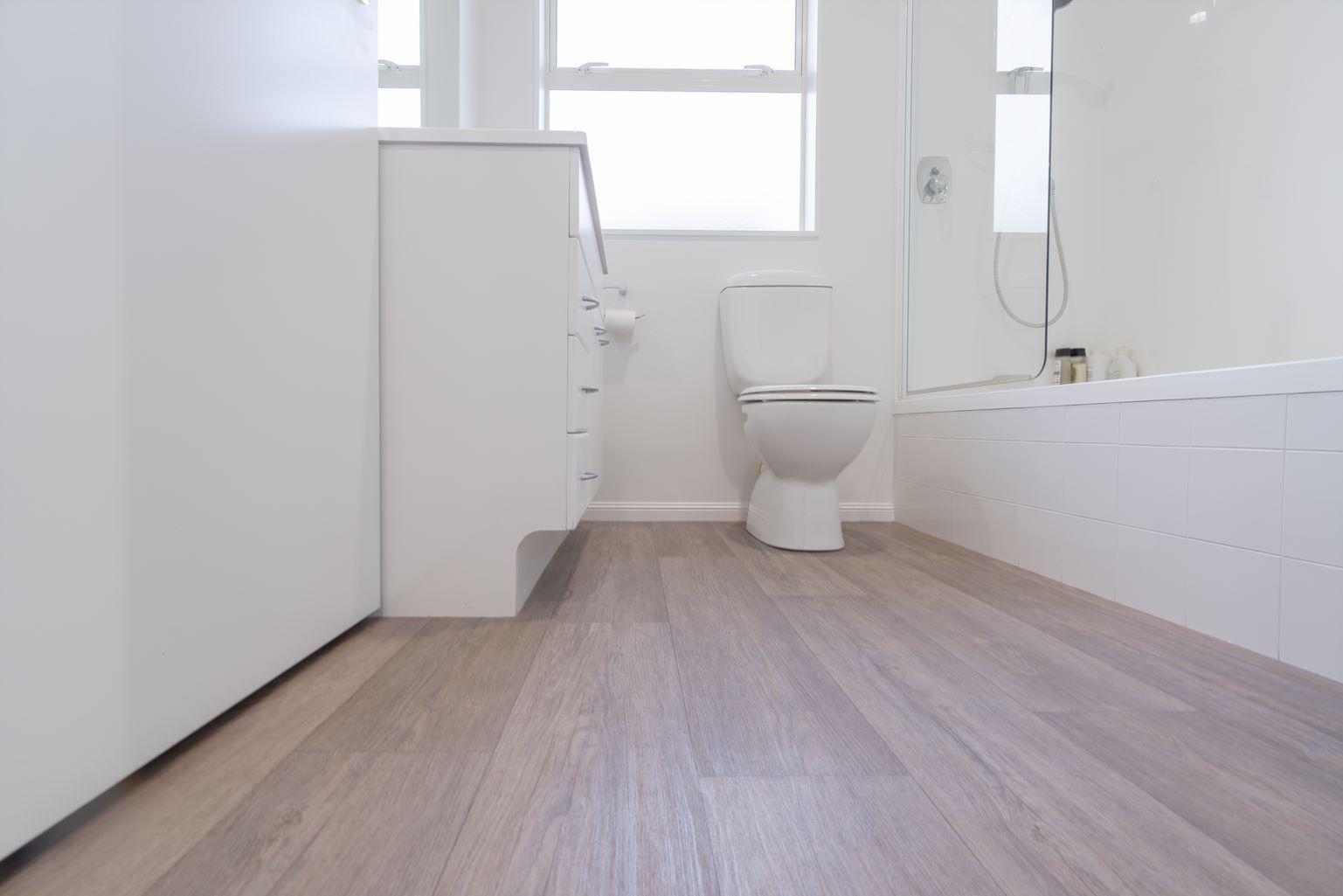 family bathroom- new commercial grade vinyl flooring