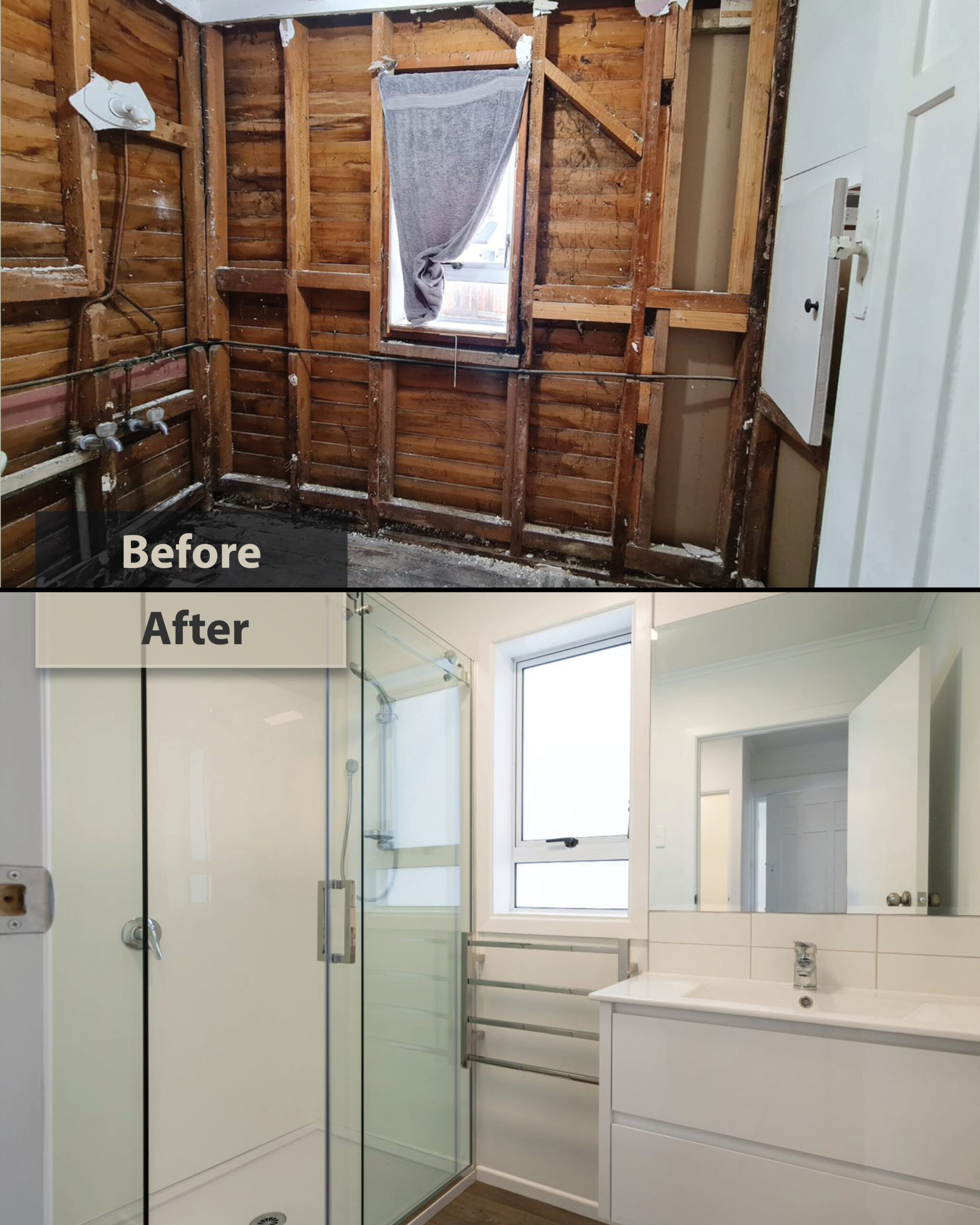 before and after bathroom renovation - Papatoetoe house renovation