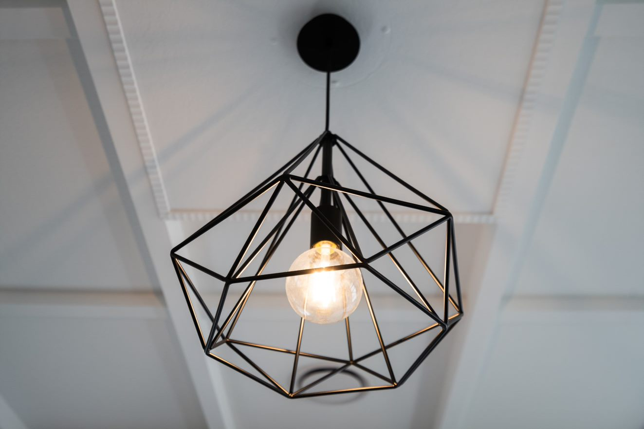 close up view of modern black light fitting