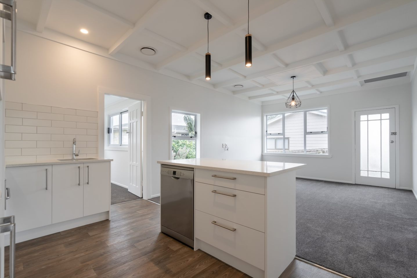 newly renovated kitchen and licing areas