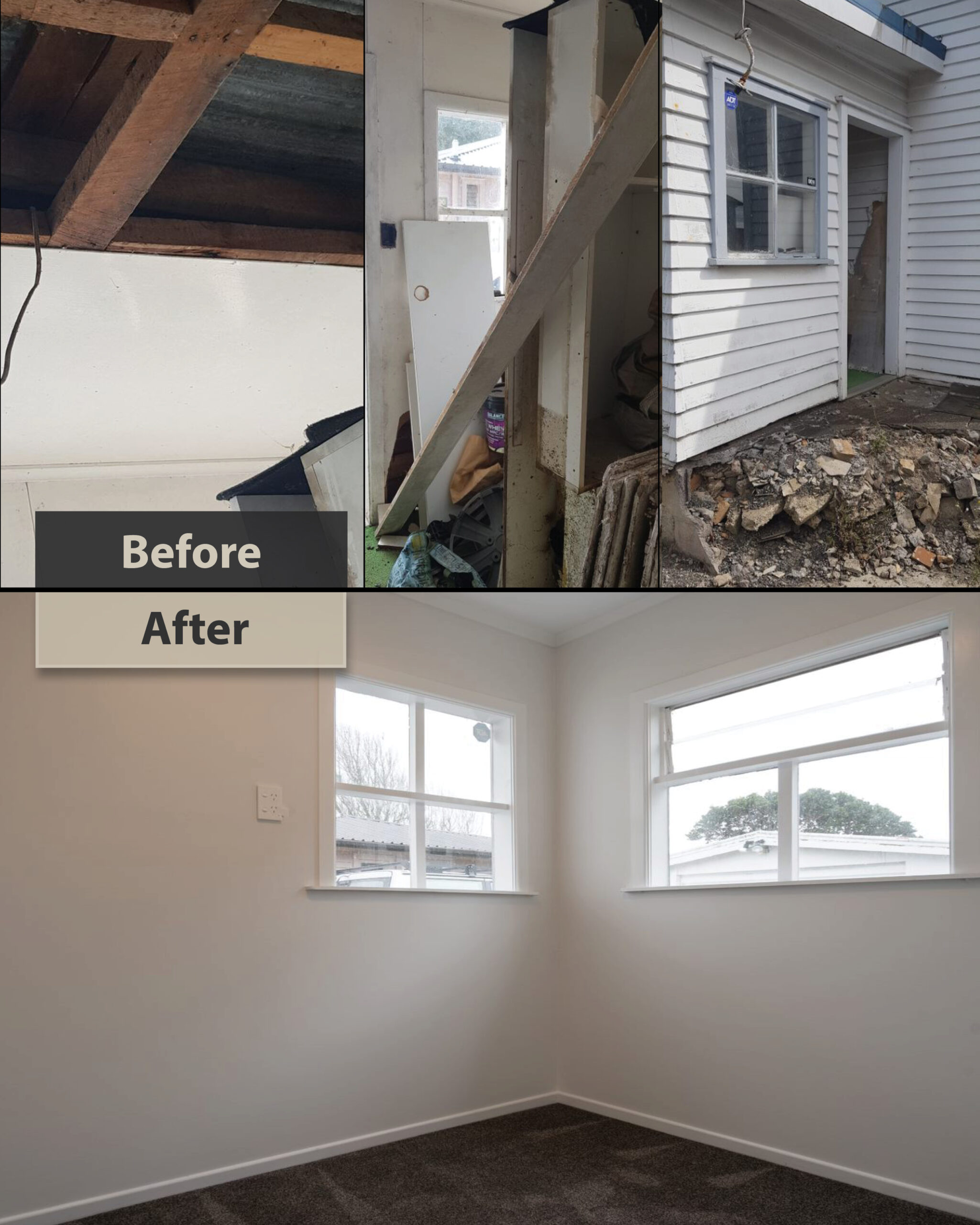 porch renovation - before and after photos